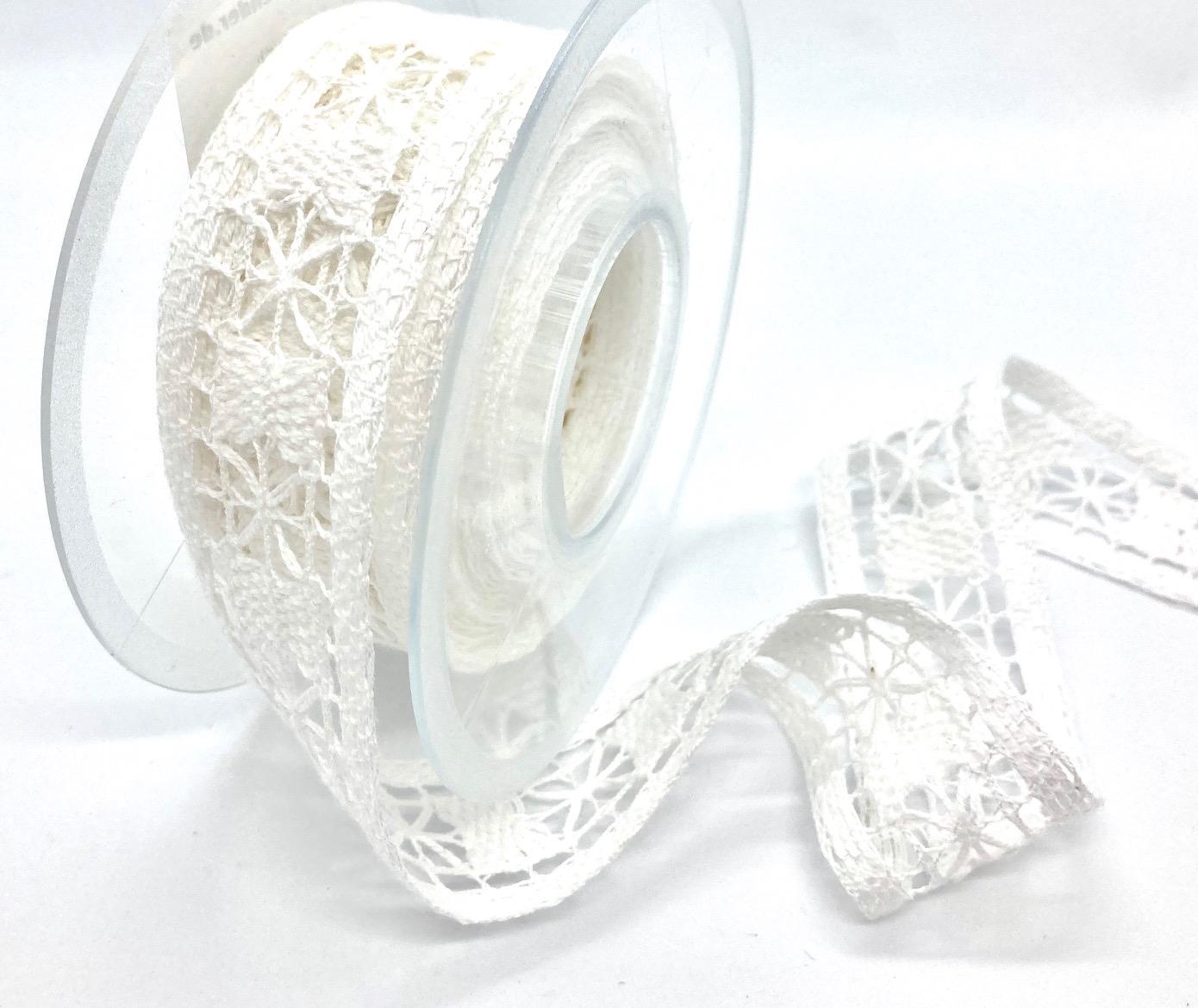 Baumwollband Weiße Spitze, 40 mm breit, 5 Meter lang