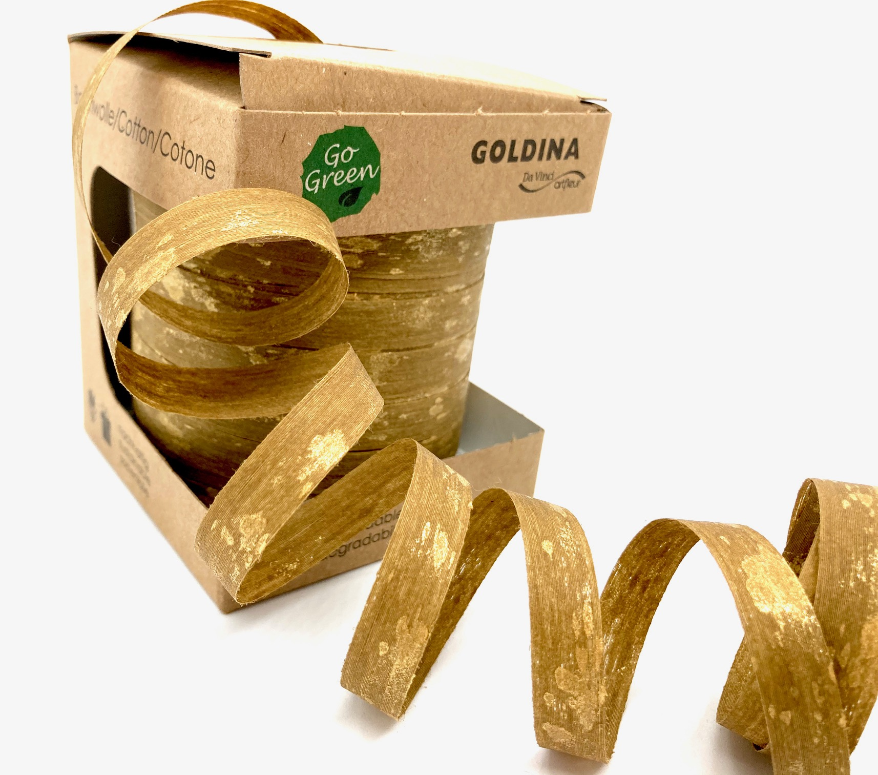 Ringelband Gold, 100 Meter, 100% Baumwolle